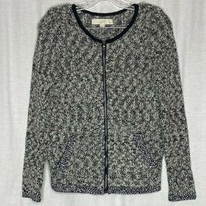 Loft Gray Black Wool Blend Full Zip Cardigan MP